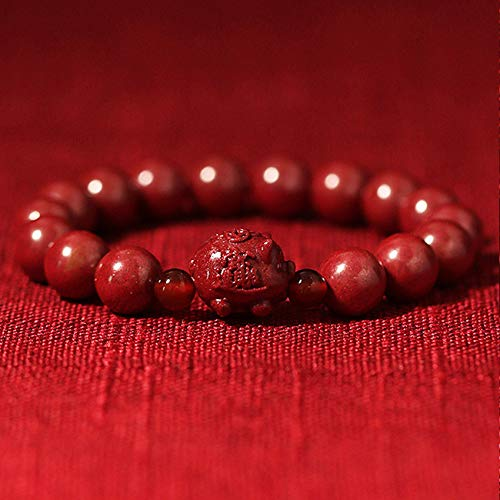 Feng Shui Wealth Bracelets Natural Genuine Cinnabar Zodiac Pig Buddha Bead Charm Transport Bracelet Lucky Chinese Gifts for Healing Attract Money for Good Fortune Courageous Bring Prosperity,8mm