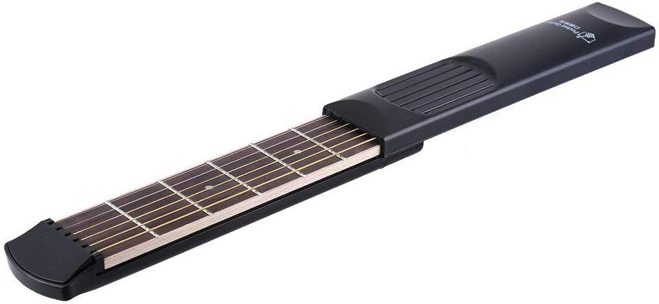 Doolland Portable Pocket Guitarra acústica herramienta práctica Gadget 6 cuerdas 6 trastes modelo para principiantes