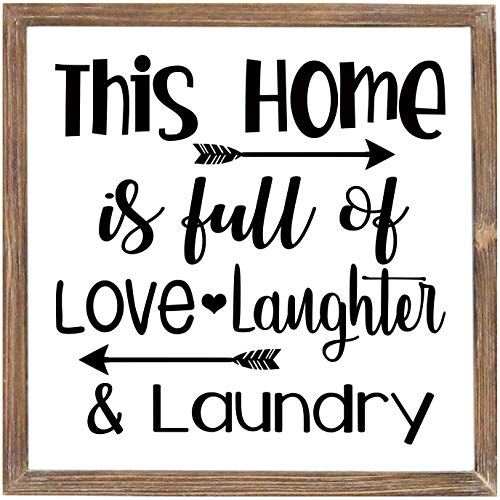 Laundry Sign for Home Decor,Funny Laundry Room Wooden Sign with Sayings - This Home is Full of Love Laughter & Laundry