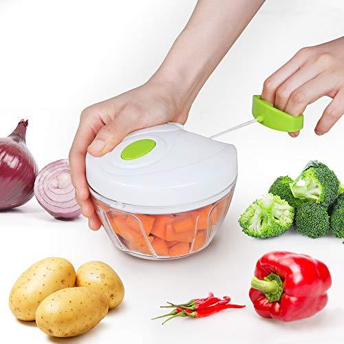 Edaygo Zerkleinerer Universalzerkleinerer Zwiebelschneider Multizerkleinerer Gemüsehobel Seilzug, 400 ml