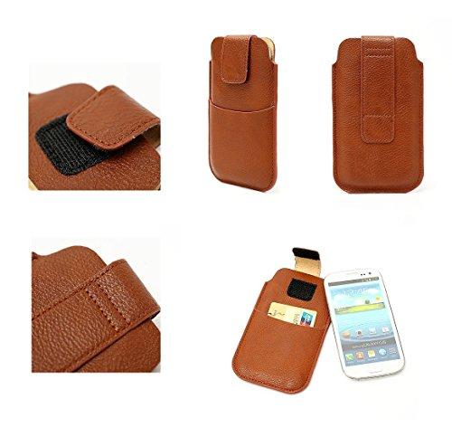 DFVmobile - Etui Tasche Schutzhülle aus Kunstleder mit Klettbandverschluss & Vordertasche für Allview V2 Viper Xe - Braun