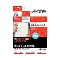 エーワン ラベルシール(プリンター兼用) 再生紙・ホワイト A4 ノーカット 31332 1冊(100シート) ×2セット