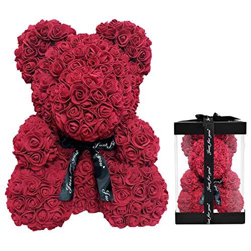 Delisouls Rosa Artificial Oso de Peluche, 25cm Espuma Romántico Rosa Oso, Creativo Forever Flor Oso Regalo para Valentine Boda Cumpleaños Aniversarios - Rojo Vino