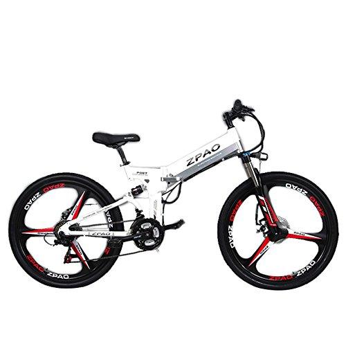 GTYW 26 Pulgadas Bicicleta Plegable Eléctrica Bicicleta De Montaña Adulto Bicicleta Eléctrico Litio Adulto Plegable Mini Motocicleta Eléctrica 90 Km Duración De La Batería,White-180 * 102 * 65cm