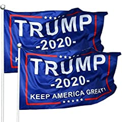 BRIGHT COLOR: Great color matching, classic blue background,the trump flags are matched with a bright color series, sharp and vivid .Easy to attract people's attention. FADE RESISTANT:Trump 2020 flag features such as waterproof and durable.More impor...