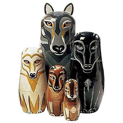 """Bits and Pieces - """"Wynter & His Pack Wolf Pack - Matryoshka Dolls - Wooden Russian Nesting Dolls - Wolf - Animal Figurines - Stacking Doll Set of 5"""