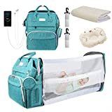 Diaper Bag Backpack, Foldable Baby Sleeping Bed with Changing Station of Boys Girls, Baby Diaper Bag with USB Charging Port, Multipurpose Waterproof Portable Travel Back Pack for Moms Dads (Green)