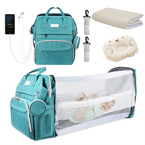 Diaper Bag Backpack, Zoomarlous Foldable Baby Sleeping Bed with Changing Station of Boys Girls, Baby Diaper Bag with USB Charging Port, Multipurpose Waterproof Portable Back Pack for Moms Dads (Green)