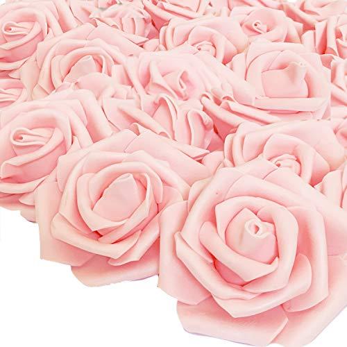 RunFar 50er (7CM) Schaumrosen Künstliche Blumen Rosenköpfe Rosenblüten Rosa Foamrosen zum Basteln Brautstrauß DIY Party Hause Hochzeit Deko (Champager)