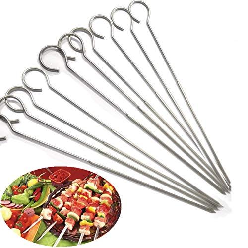 Ecloud Shop® 13 Pulgadas de Acero Inoxidable Barbacoa Pinchos shish Kebab asado a la parilla Barbacoa Pinchos palillo Conjunto de 4