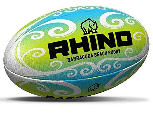 ND Sports K-REY-RRB130 - Pallone da rugby Rhino Barracuda Beach Pro blu/Wht Midi (taglia 2), verde, verde