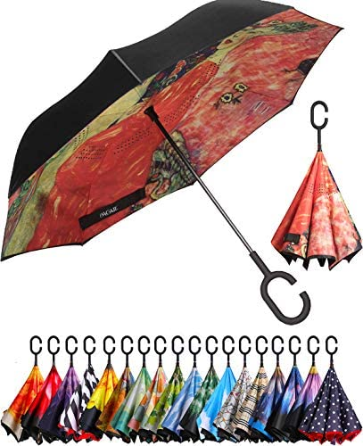 BAGAIL Double Layer Inverted Umbrella Reverse Folding Umbrellas Windproof UV Protection Big product image