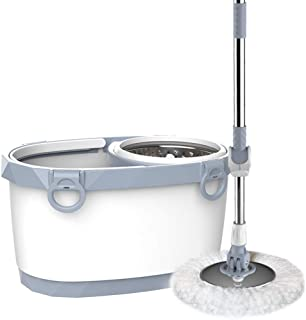 Rotary Bucket System Mop with Extended Length Handle 2 Microfiber Mop Head 360° Rotating Simple Floor Mop (Black) YZPXZTB (color : White)