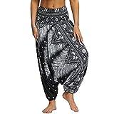 Nuofengkudu Mujer Pantalones Hippies Estampados Baggy Comodos Ligeros Cintura Alta Indios Yoga Pants Casual Playa Fiesta Verano (Negro Patrón B,Talla única