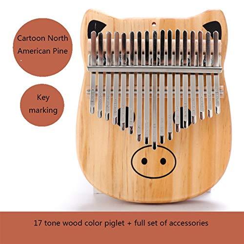 Kalimba, Daumenklavier Kalimba 17 Schlüsseldaumenklavier Mahagoni Musikinstrumente Mbira Kalimba Tragbare Finger Klavier mit Hammer Sticker Kit Kind Anfänger (Color : Piglet)