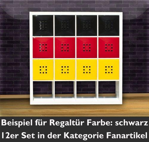 Design Regaltür als Fach-Einsatz, Regalsysteme mit Mass ca. 33,6cm x 33,6cm, Tür für Ikea Regal Expedit Kallax Nornäs - Würfel Flexi - XXXL Lutz - Quelle Raumteiler* Schwarz
