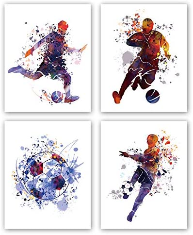 XUN Watercolor Boys Football Art Print Soccer Silhouette Sport Theme Canvas Wall Art 8 X10 X4 product image