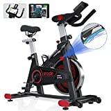 SNODE Magnetic Indoor Exercise Bike with App, Cycling Bike with Tablet Holder, Stationary Bike Compatible with ZWIFT, Kinomap