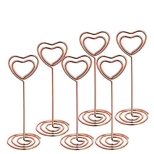 Yalulu 12 Pièces Cœur Tourbillon Numéro de Table de Clip Carte Porte Photo pour Mariages fête Décoration (Or Rose)