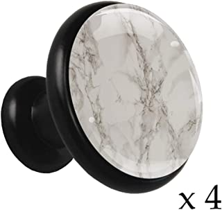 Textura de mármol Pomo de cajón redondo de metal sólido con vidrio de cristal para la puerta del gabinete de la cocina apa...