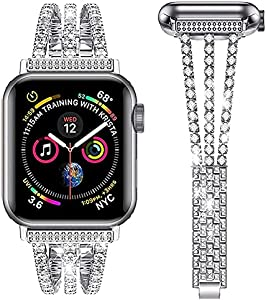 Akyovdli Compatible for Apple Watch Band 44mm Women, Sparkling Bling Diamonds Bracelet for Apple Watch Band 42mm Series 6 5 4 3 2 1 SE (Silver, 42/44MM)