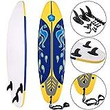 COSTWAY Surfbrett Surfboard Stand Up 6' Funboard Shortboard Wellenreiter 182x 50x 8cm Farbwahl (Gelb)