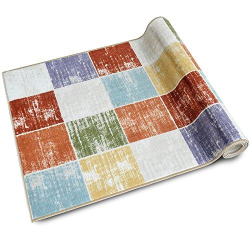 Teppichläufer Capera | Patchwork Muster im Vintage Look | viele Größen | moderner Teppich Läufer für Flur, Küche, Schlafzimmer | Niederflor Flurläufer, Küchenläufer | Breite 80 cm x Länge 200 cm