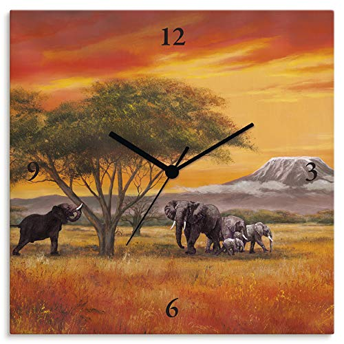Artland Wanduhr ohne Tickgeräusche Leinwanduhr Quarzuhr lautlos Quadratisch 30x30 cm Design Natur Landschaft Afrika Tiere Elefant Orange T4EH