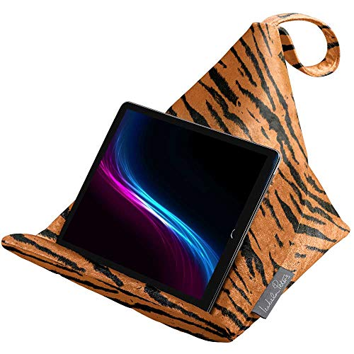 Izabela Peters Designer Bean Bag Cushion Pillow Stand for IPad, Tablet, Kindle, Phone – The Holder Supports Devices At Any Angle – Luxurious Shimmer Velvet – Tiger | Animal Print Collection