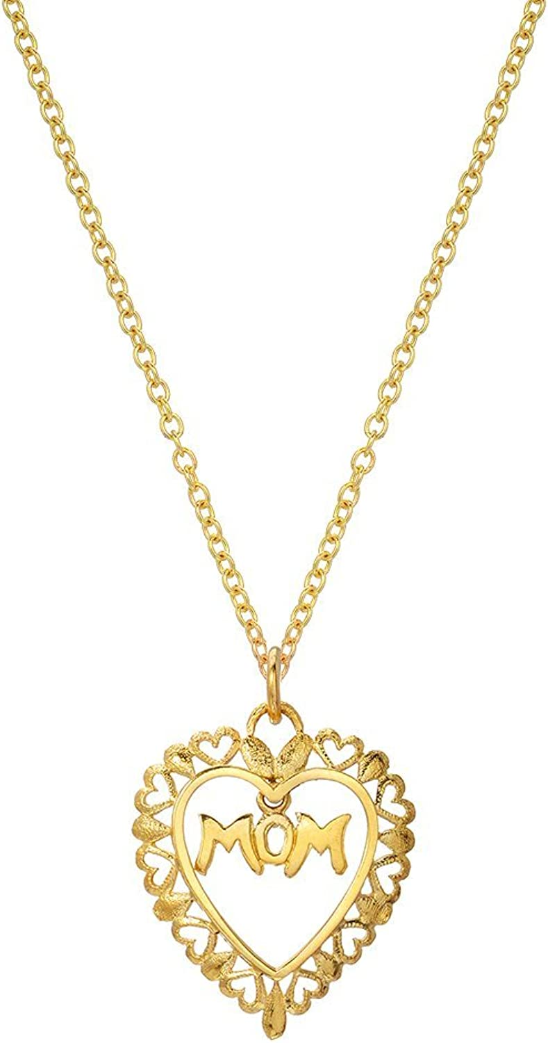 14K Yellow gold Floating Mom Heart Pendant Necklace, 18