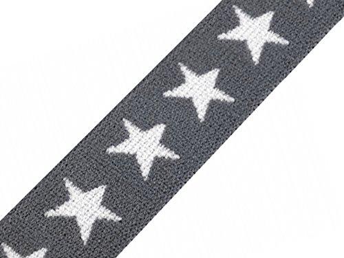 Schnoschi Gummiband Sterne 20 mm Gummizug Gummilitze Gummi Hosengummi gewebt viele Farben (Grau)