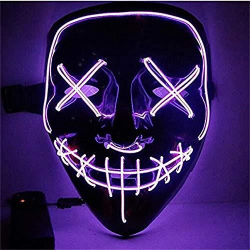 Kaliwa LED Purge Maske mit 3 Blitzmodi für Halloween Fasching Karneval Party Kostüm Cosplay Dekoration (Lila)