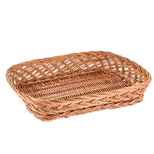 CRAFTY CAPERS 36cm Shallow Mid-Brown Wicker Gift Basket or Hamper Tray