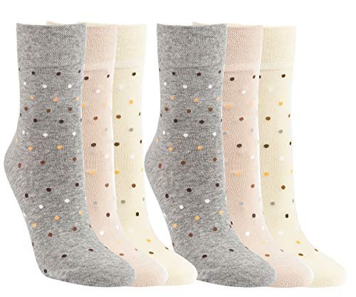 Vitasox 11971 Damen Socken Baumwolle Punkte ohne Gummi ohne Naht 6 Paar 35/38