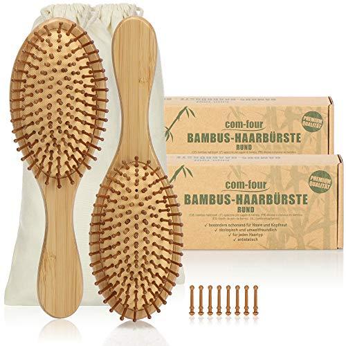 com-four® 2X Brosse à Cheveux Naturelle en Bambou - Brosse écologique avec des Poils naturels - pour Hommes, Femmes, Enfants - 100% végétalien (2 pièces - Pinceau Tout Usage)