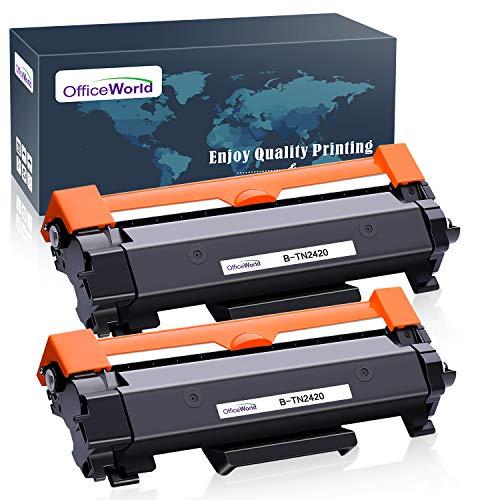 OfficeWorld Compatibile Brother TN-2420 TN2420 TN2410 TN-2410 Cartucce di toner (2 Nero) con Chip per MFC-L2710DW L2710DN L2730DW L2750DW, HL-L2310D L