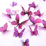 Butterfly Wall Decals, 24 Pcs 3D Butterfly Removable Mural Stickers Wall Stickers Decal Wall Decor for Home and Room Decoration (Purple)