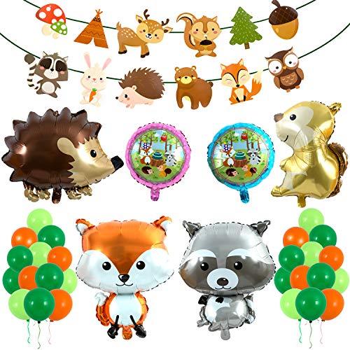 Decoraciones Forestales, Comius 57 Piezas Selva Fiesta de cumpleaños Decoracion Niño, Decoraciones Animales del Bosque Partido Globos, Guirnaldas De Papel para Las Decoraciones De La Fiesta