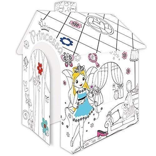TikTakToo Spielhaus aus Pappe Prinzessin Pappspielhaus zum Bemalen Haus Spielzeug Karton Prizessin