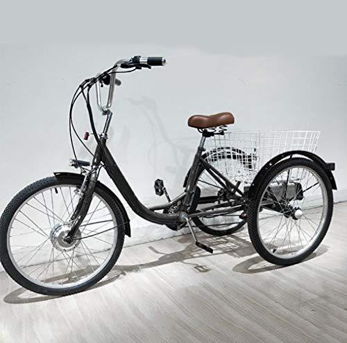 Dreirad elektrische Erwachsene dreirädrige Fahrrad Lithium-Batterie für Eltern ältere 3-Rad-Elektro-Fahrrad mit hinterem Korb, Einkaufsausflüge, arbeitssparende Mobilität Dreirad 48V12AH