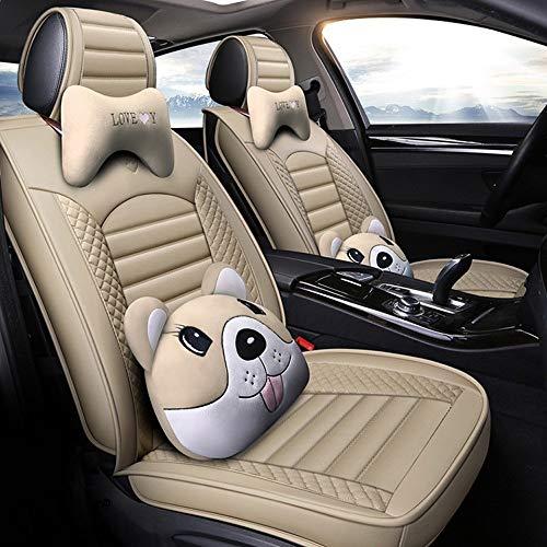 Housse de Sieges Auto Car Seat Covers, 5 Set Seat Cover siège étanche universel véhicule complet protecteurs de coussin en cuir Compatible Airbags (Color : Beige)
