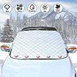 Emixiki Car Windshield Snow Cover, Magnetic Car Windshield Snow Ice Cover with 4 Layers Protection,Snow,Ice,Sun,Frost Defense,Extra Large Windshield Winter Cover Fits Most Cars
