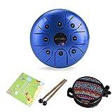 Tambor de Lengua de Acero, ammoon 5.5 Pulgadas Tongue Drum Un Regalo Especial de Instrumentos Musicales, Tratamiento de Sonido, con Bolsa, Baqueta, Partitura, Tambor de Lengua(azul)