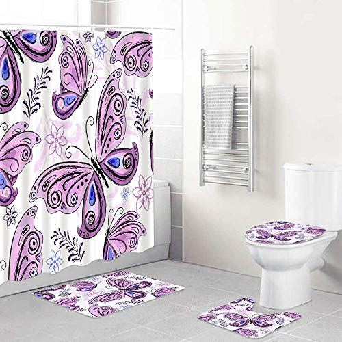 DAOPUDA 4 Piece Colorful Purple Butterfly Shower Curtain Sets with Non-Slip Rug,Toilet Lid Cover,Bath Mat and 12 Hooks for Bathroom Decor