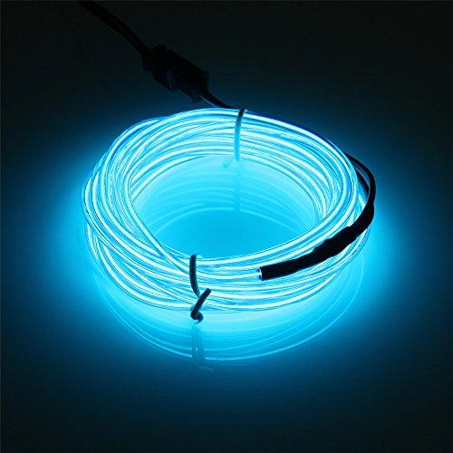 JIGUOOR 10M EL Draht EL Kabel Neon Licht Beleuchtung Wiederaufladbar für Party Halloween Kostüm Weihnachten Dekoration mit 3 Modis (Blau)