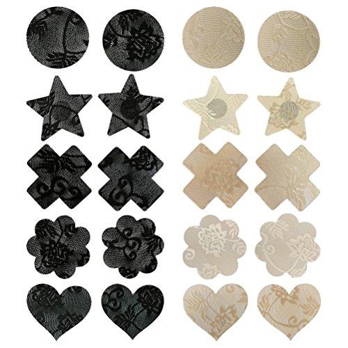 Tinksky Tinksky 10 Paare Einwegblumenblätter Pasteten Brustnippel Abdeckungsaufkleber Unsichtbare Abdeckung(Zufälliger Stil)