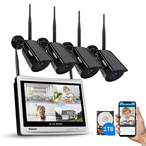 WLAN Überwachungskamera Set mit 12 Zoll LCD Monitor, TMEZON 4ch 1080P DVR Überwachungskamera System mit 4Stk 2MP Überwachungskamera 1TB Festplatte Wetterfeste DIY-Setup Kostenlose APP-Fernbedienung