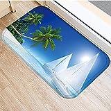 OPLJ Alfombra de Gamuza Antideslizante con diseño escénico de Playa de mar, Felpudo para Puerta, Alfombra para Cocina al Aire Libre, Alfombra para Sala de Estar, Alfombra A3 40x60cm