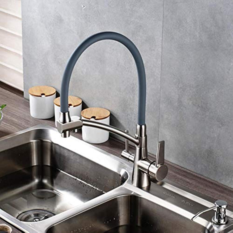 Küchenreinigung Flexibel Gedreht Küchenhahn Dual Auslauf Dual Griffe Mischbatterie Heie und kalte Reinwasser Mischer, Nickel gebürstet