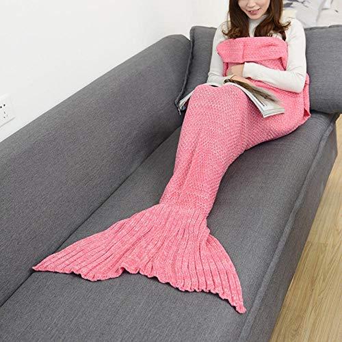 LRRLPR Manta de Cola de Sirena, Hecho a Mano de Punto Manta de Cola de Sirena Todas Las Estaciones cálido sofá Cama Sala de Estar Manta para Adultos, 180 * 90cm,Pink